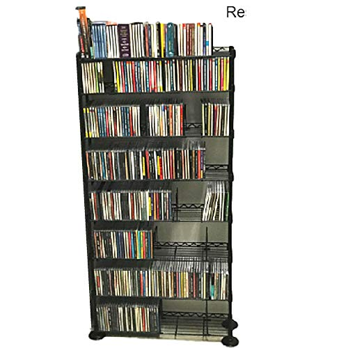 Music CD Storage Rack DVD Wire Shelving 8 Shelf Tier Steel Multimedia Media Steel Metal VHS Movies Holder Warehouse Adjustable Books TV Standing Office Dividers Multipurpose & eBook