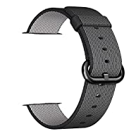 Smart Watch Band, Uitee Woven Nylon Band for Apple Watch 42mm Series 1 & 2, Uniquely and Artistically Designed Replacement Strap for iWatch, Best Comfortably Light With Fabric-Like Feel (Black)