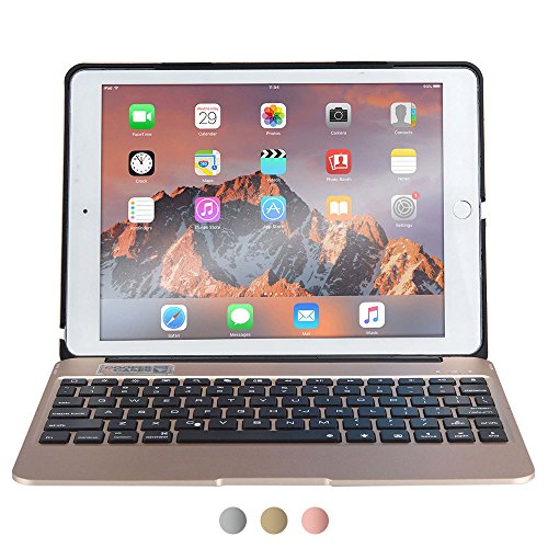 Apple iPad Air 2, iPad Pro 9.7 keyboard case, [NEW] COOPER KAI SKEL A1 Backlit Aluminum Bluetooth Wireless Keyboard Laptop Macbook Clamshell Case Cover Battery Power Bank NOT FOR IPAD 9.7 2017 Gold