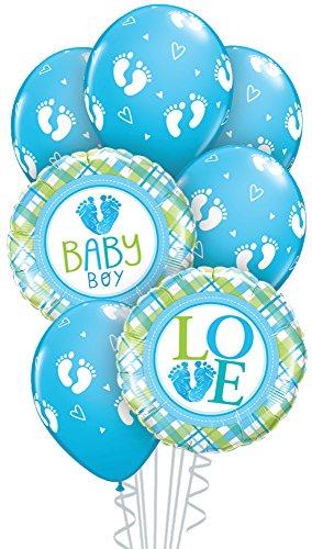 Qualatex 52977 Box 7-Piece Balloon Bouquet, Baby Boy Foot Prints