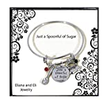 Mary Poppins Message Charm Expandable Wire Bangle Bracelet''Just A Spoonful of Sugar'' Pendant with Crystals Handbag Spoon Charms Adjustable DIY