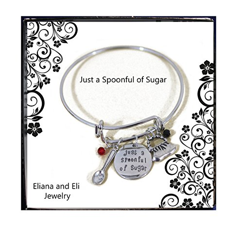 Mary Sugar Spoon - Mary Poppins Message Charm Expandable Wire Bangle Bracelet
