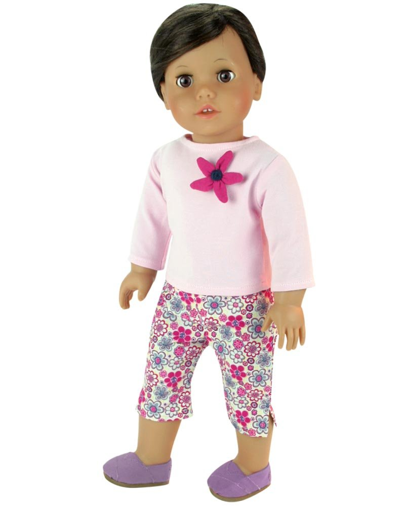 Sophias Light Pink Shirt and Flower Print Capris with Purple Canvas Slip On Espadrilles for 18 In Dolls Sophia/'s