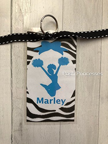 Cheerleading Bag Tags, Zebra Cheer Coach Gift, Cheer Coach Gift, Any Color Lettering, Custom Tag Measures 4.5