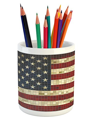 Lunarable American Flag Pencil Pen Holder, Abstract Mosaic Flag of USA Grungy Design Square Shaped Illustration, Printed Ceramic Pencil Pen Holder for Desk Office Accessory, Dark Blue Red Cream