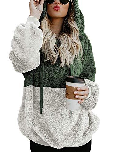 Fashion Color Hooded Fleece - Women's Warm Long Sleeves Fleece Sweatshirts Hooded Pullover Coat Outwear Green M