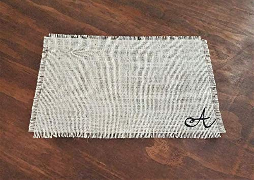 (Personalized Monogram Placemats, Ivory Thanksgiving Burlap Place Mats, Rustic Fall Table Decor, Rustic Easter Table Decorations, Easter Table Mats Set of 2, 4, 6, 8, 10, or 12)