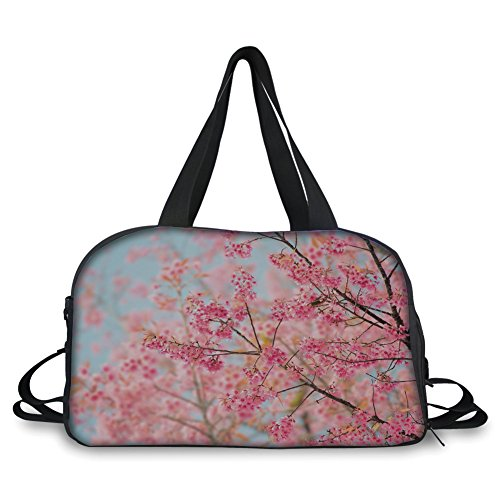 Travel Handbag,Floral,Japanese Sakura Cherry Blossom Branches Full of Spring Beauty Picture,Light Pink Baby Blue ,Personalized (Toy Stroller Blossom)
