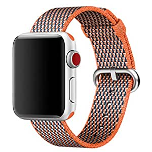 Hailan Band for Apple Watch Series 1 / 2 / 3,Newest Design Fine Woven Nylon Wrist Strap Replacement with Classic Buckle for iwatch,42mm,Spicy Orange Check