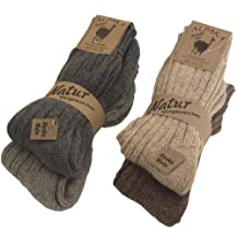 BRUBAKER Thick Alpaca Winter Socks For Men Or Women 100% Alpaca - 4 Pairs