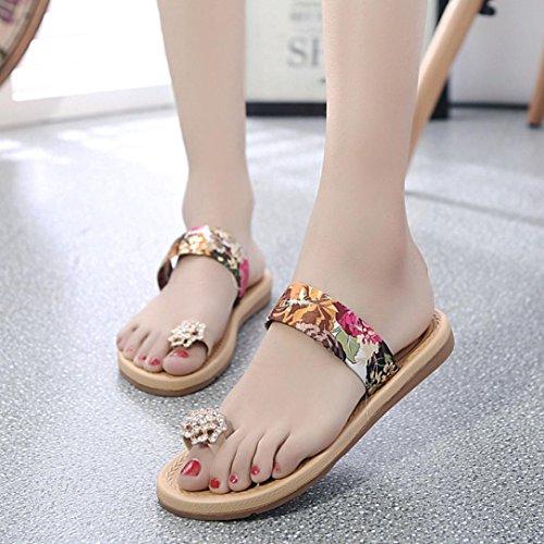 DEESEE(TM) Women Fashion Summer Flat Flip Flops Sandals Loafers Bohemia Shoes Red tgi7yK9o