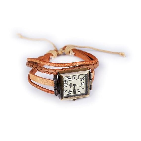 Classic Elegant Correa de Piel Vintage Mujer Reloj de Pulsera Cuadrado Cuarzo Reloj café