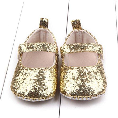BZLine® Kleinkind Mädchen weichen Sohle Krippe Pailletten Babyschuhe Gold