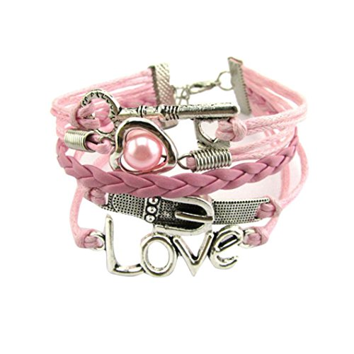 Baigoods DIY Style Jewelry Love Fashion Angel wings Leather Infinity Charm Bracelet Silver Valentine's Day Present Gift (Pink) -