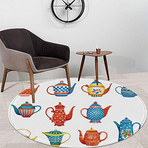 (Tea Party Custom Round Carpet,Colorful Teapots Various Shapes Sizes Breakfast Ceramic Cute Design Decorative for Children Bedroom Corridor,47.24
