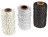 3 Roll Christmas Two-Color Gold Wire Combined Cotton Thread - 109 Yards/Roll - Xmas Hand Weave DIY Gift Wrapping Belt and Tag Fine Cotton Rope (White + Gray + Black)