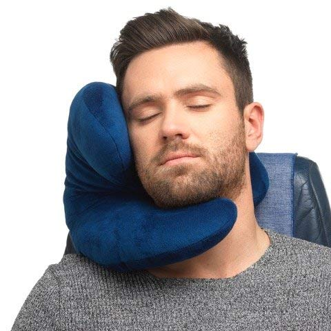 Travel Go Easy Pillow - J-Pillow Travel Pillow, British Invention of The Year 2018 Version with Increased 3D Support - Head, Chin, Neck Support in Any Sitting Position, Attach to Luggage - Dark Blue
