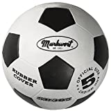 Markwort Official Size-5 Soccer Balls, White/Black