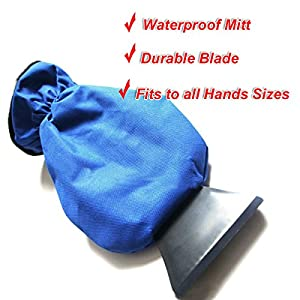 Zento Deals Durable Car Ice Scraper Windshield with Blue and Waterproof Mitt- Glass Snow Remover with Glove that Keeps your Hands Warm and Dry