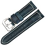 MAIKES Vintage Oil Wax Leather Watch Strap 22mm 24mm 26mm Watchband with Stainless Steel Buckle Watch Band (Band Width 22mm, Blue+Silver Clasp)
