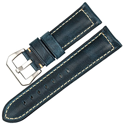 5 Watch Vintage (MAIKES Watch Accessories Vintage Leather Watch Strap 5 Colors Available Watchband 22mm 24mm 26mm Watch Band (Band Width 22mm, Blue+Silver Clasp))