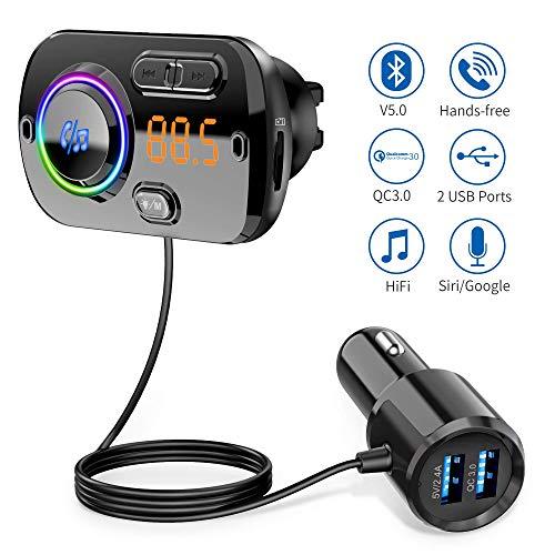 🥇 【2020 Versión】 Transmisor FM Bluetooth 5.0 Manos Libres Coche con 7 Colores Luz