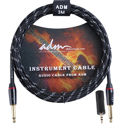 ADM Guitar Cable 10 FT 1/4 Straight to Straight Musical Instruments Electric Bass Mandolin Recording Studio Cord with 1/8 Adapter, Black (Guitar Jack Cable)
