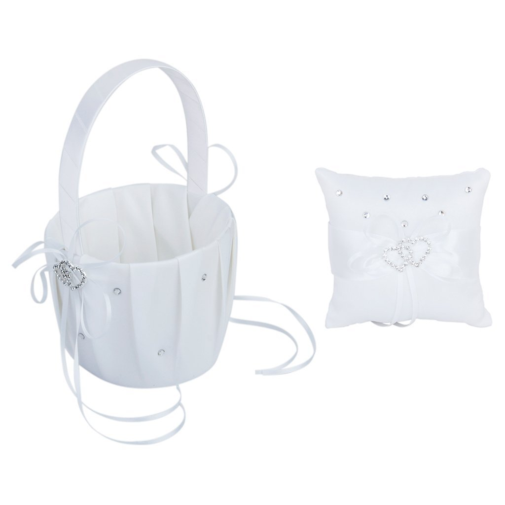 Eamall Elegant Double Heart Wedding Flower Girl Basket and Ring Pillow (basket & ring pillow)