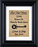 Our First Home Sign, First Home Burlap Print, Housewarming Gift, New Home Burlap Wall Decor, New Home- House Warming Gift- 2H (Frame not Included)