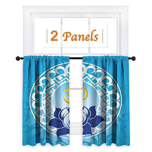 maisi Chakra, Curtains and Valances, Eastern Spiritual Design with Lotus Flower Petal Mystical Powers of Nature Print, for Bathroom (W84 x L72 Inch) Pale Blue