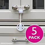 Kiscords Baby Safety Cabinet Locks for Knobs Child Safety Cabinet Latches for Home Safety Strap for Baby Proofing Cabinets Kitchen Door Rv No Drill No Screw No Adhesive/Color White/5 Pack Ez-twist