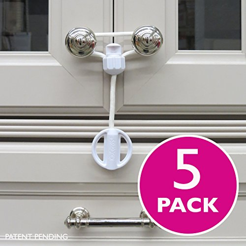 Price comparison product image Kiscords Baby Safety Cabinet Locks for Knobs Child Safety Cabinet Latches for Home Safety Strap for Baby Proofing Cabinets Kitchen Door Rv No Drill No Screw No Adhesive / Color White / 5 Pack Ez-twist