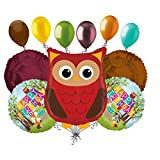 11 pc Woodland Owl Happy Birthday Animals Balloon Bouquet Party Decoration Woods