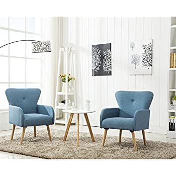Magshion Elegant Upholstered Fabric Club Chair Accent Chair Living Room Set  Of 2 (Blue)