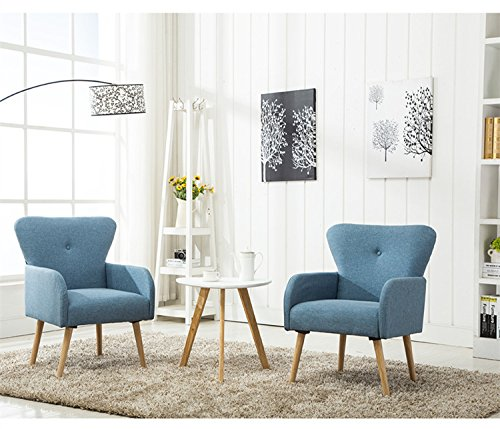 Magshion Elegant Upholstered Fabric Club Chair Accent Chair Living Room Set of 2 (Blue) - With its wide stance and soft padding, the Magshion Tufted Fabric Chair presents contemporary and traditional elements The chair features linen upholstery with tufted back and natural color stained legs. Magshion is sure to bring a class to your living room, bedroom or office. Curved backrest will supply seating in an upright position to encourage good posture - living-room-furniture, living-room, accent-chairs - 51LBCBuwoJL -