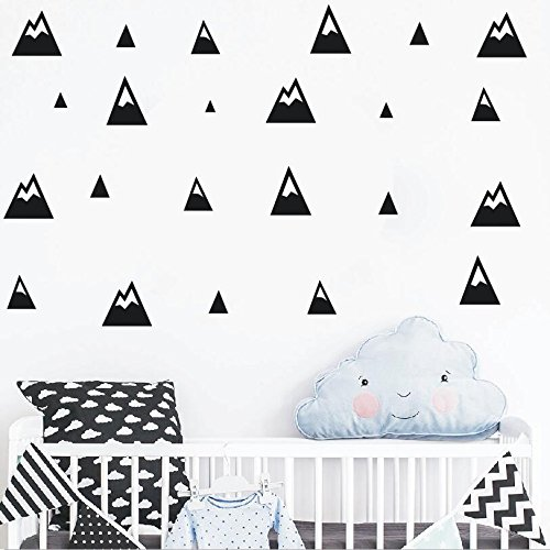 The Boho Design MONTAA PUNTIAGUDA Wall Vinyl Sticker Decal Decor Nursery. Adhesive Mountains for Kids Baby Nordic Bedroom Decoration