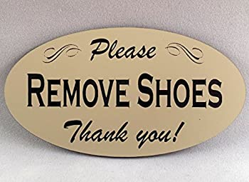 Please Remove Shoes Sign - Laser Engraved Signage Material -Cream
