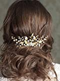 Unicra Wedding Leaf Decorative Hair Comb Bridal Hair Accessories with Pure Bead for Brides and Bridesmaids (Gold)