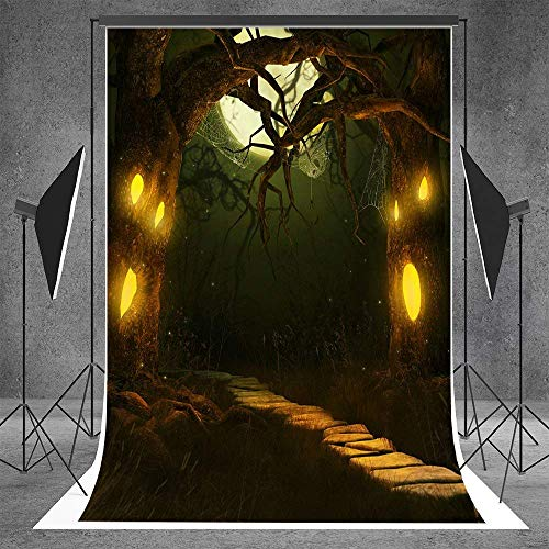 Kate 5ftX7ft (150cmX220cm) Photography Backgrounds Horror Trees Trail Halloween Themed Photo Backdrop(with Pocket)]()