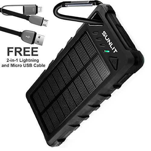Solar Charger SUNLIT | Portable Power Bank with Flashlight | All Weather Condition | Shockproof Dustproof Waterproof IP67 | 16000mAh Dual USB Battery Pack For Iphone Samsung Android (BLACK) by Sunlit