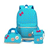 DIMY DS03 Polka Dot Waterproof Japanese High School Bag Middle School Bag Elementary School Bag Book Bag School Backpack Crossbody Bag Purse for Teen Girls Boys Children 3 Piece Blue