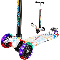 Vamslove Kick Scooter for Kids, Adjustable Height T-handlebar 3 Wheels Kids Scooter - Widening Non-slip Deck Handle PU Flashing Wheels Deluxe Scooter Gift Toys for 3-12 Years Old Boys Girls (Rainbow)