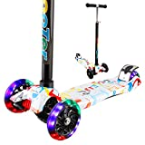 Vamslove Kick Scooter for Kids, Adjustable Height T-handlebar 3 Wheels Kids Scooter – Widening Non-slip Deck Handle PU Flashing Wheels Deluxe Scooter Gift Toys for 3-12 Years Old Boys Girls