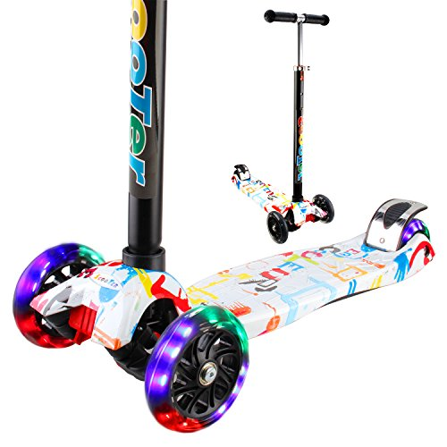 Vamslove Kick Scooter for Kids, Adjustable Height T-handlebar 3 Wheels Kids Scooter...