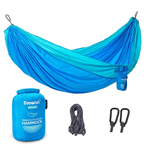 Browint Double Camping Hammock, 12 Colors, Lightweight Unique 220T Parachute Nylon Portable Hammock for 2 Persons, Best Outdoor Hammock for Backpacking, Beach, Travel, Yard. 10 L x 6 8 W