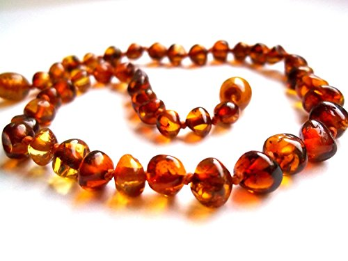 Baroque Cognac Baltic Amber Baby Teething Necklace Safety Knotted by Ambermilana