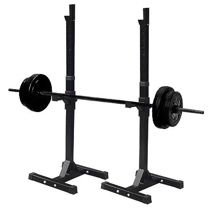 Par de soportes para pesas ajustables estante banco prensa Stands accesorio de acero resistente musculación mancuernas