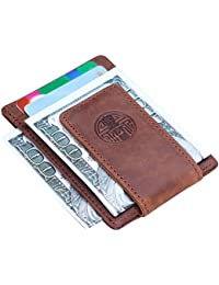 Win&Income Money Clips,Mens Wallet,Leather Thin Clip Wallets,Front Pocket Card Holder
