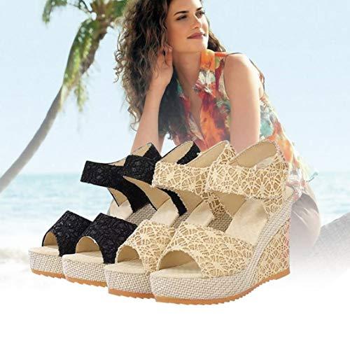 Design di in Signora Scarpe Scarpe Testa Charming Pizzo Donna da Tacchi Zeppa Sexy Toe Sandali alla con Moda Alti Pesce Estate Open 5qf6znw
