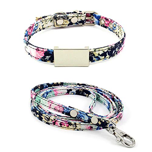 Benala Classic Flower Patterned Adjustable Cat Collar Leash Set,Made with Cloth and Floral Pet Collar Blue S:(Neck 8.7-10.7